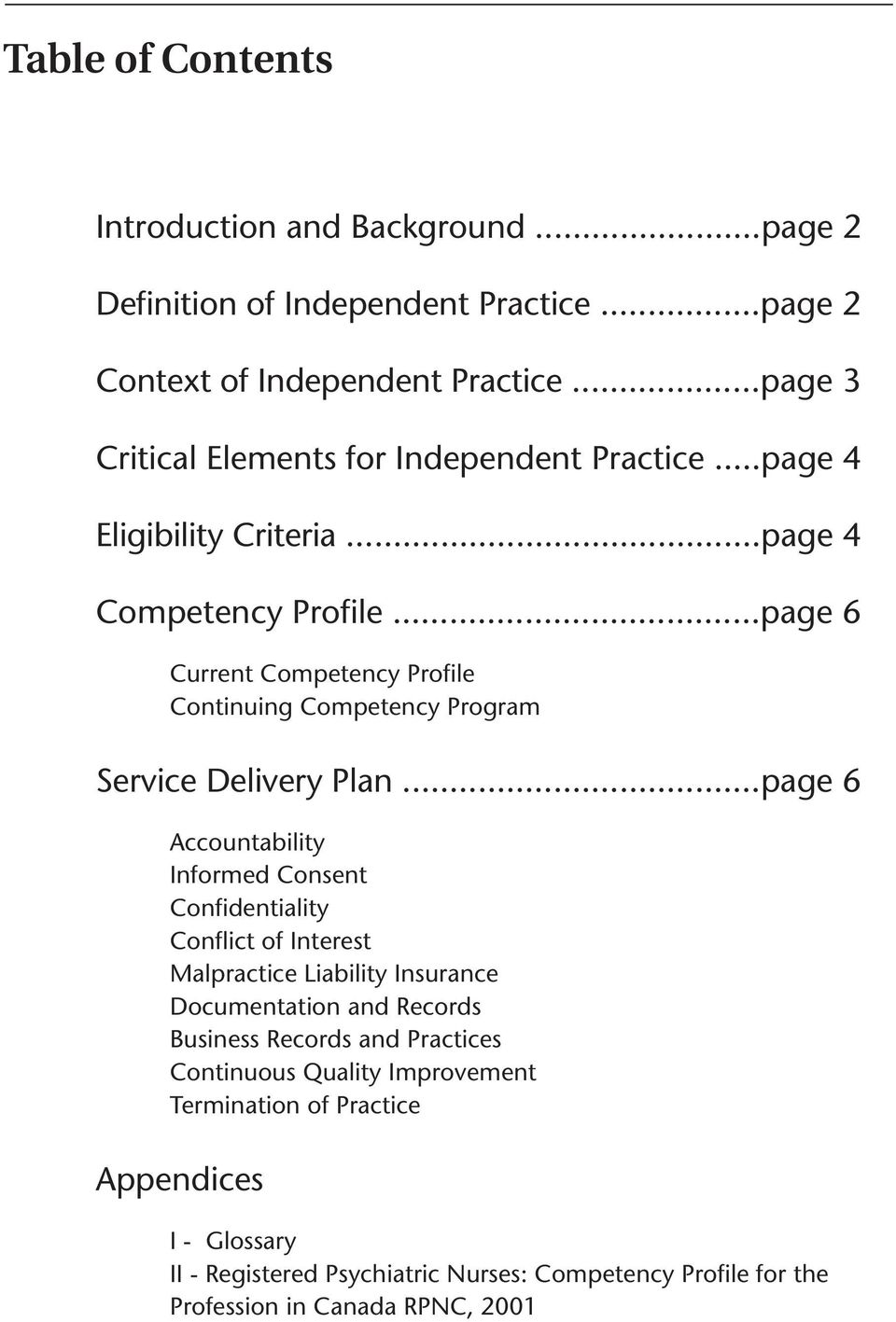 ..page 6 Current Competency Profie Continuing Competency Program Service Deivery Pan.