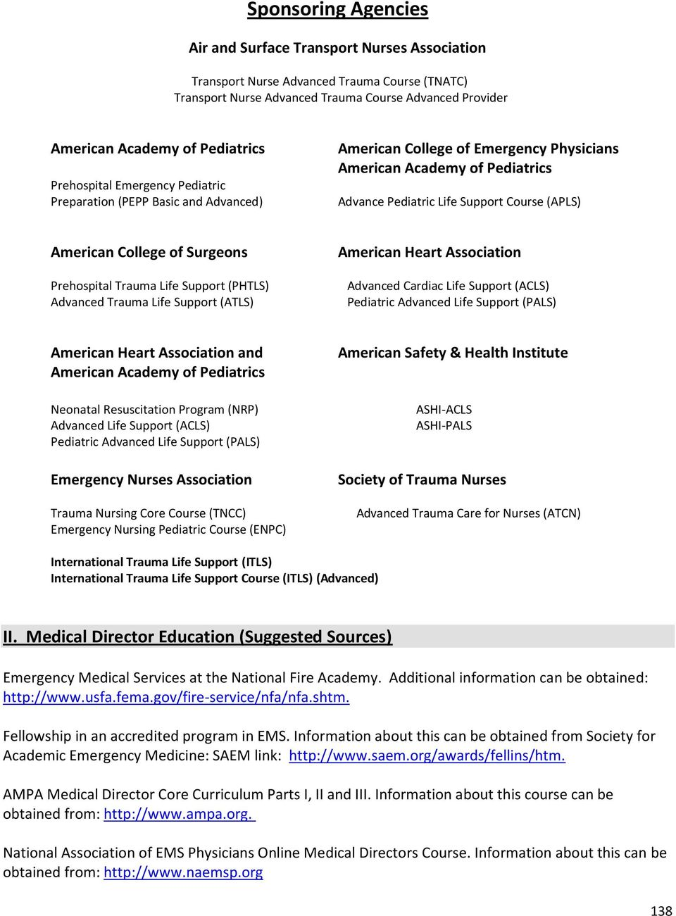 Prehospital Trauma Life Support (PHTLS) Advanced Trauma Life Support (ATLS) American Heart Association Advanced Cardiac Life Support (ACLS) Pediatric Advanced Life Support (P) American Heart