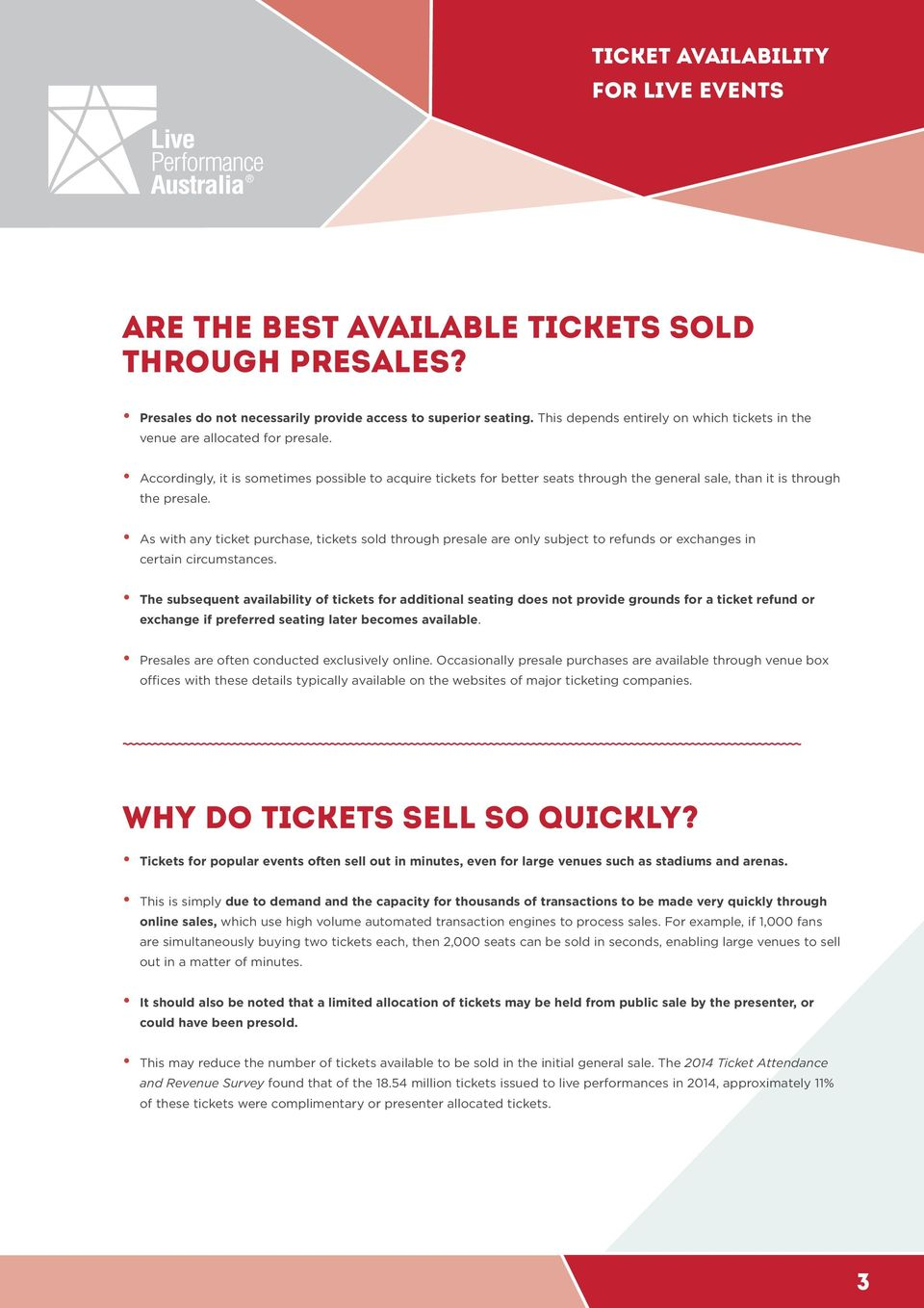 As with any ticket purchase, tickets sold through presale are only subject to refunds or exchanges in certain circumstances.
