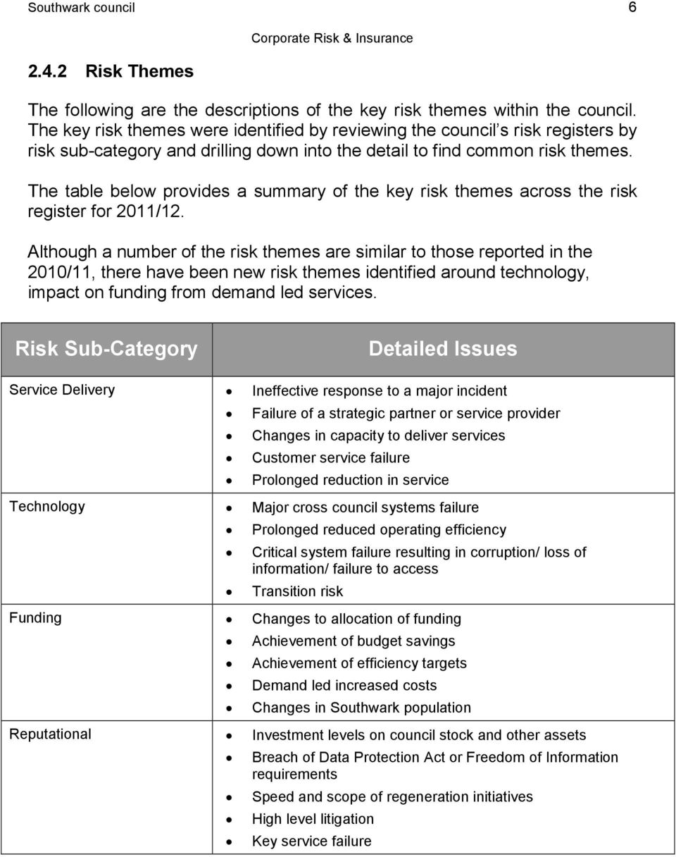 The table below provides a summary of the key risk themes across the risk register for 2011/12.