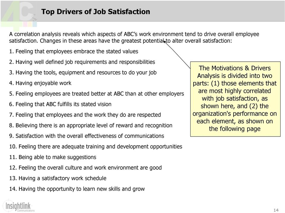 Having the tools, equipment and resources to do your job 4. Having enjoyable work 5. Feeling employees are treated better at ABC than at other employers 6.