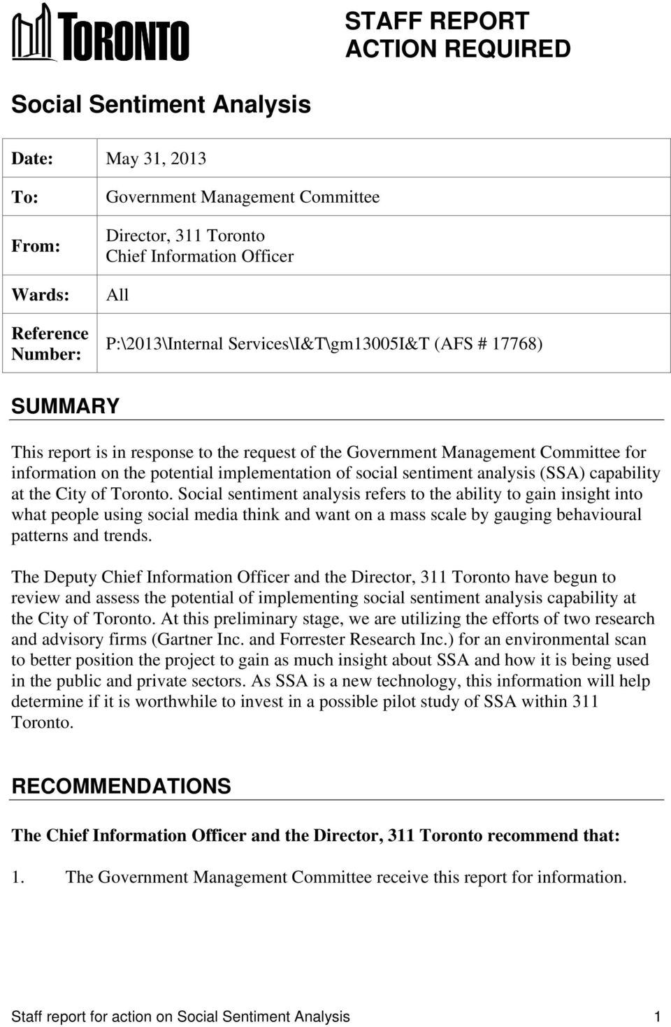 social sentiment analysis (SSA) capability at the City of Toronto.