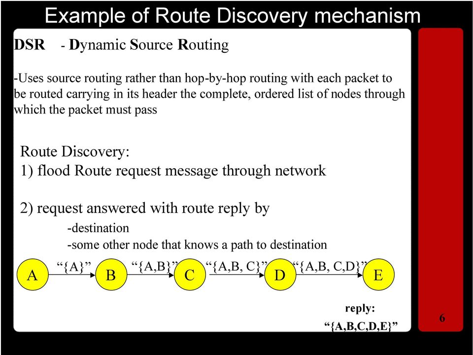 must pass Route Discovery: 1) flood Route request message through network 2) request answered with route reply by