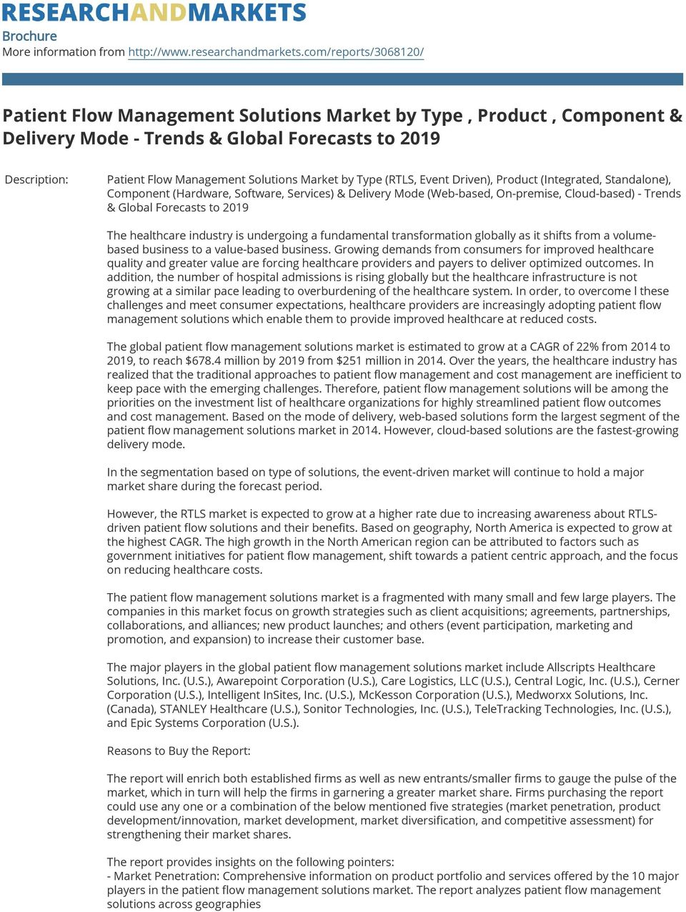 Type (RTLS, Event Driven), Product (Integrated, Standalone), Component (Hardware, Software, Services) & Delivery Mode (Web-based, On-premise, Cloud-based) - Trends & Global Forecasts to 2019 The