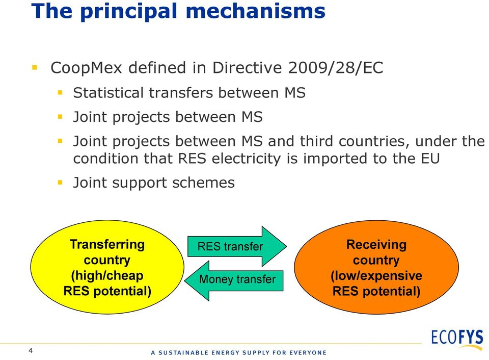condition that RES electricity is imported to the EU Joint support schemes Transferring