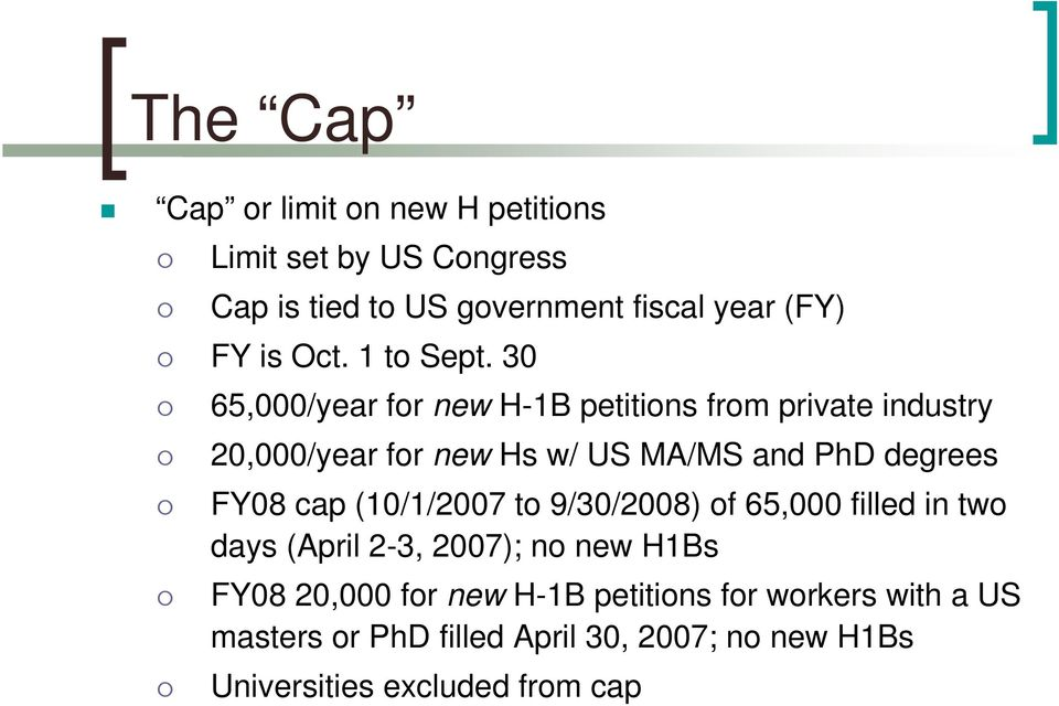 30 65,000/year for new H-1B petitions from private industry 20,000/year for new Hs w/ US MA/MS and PhD degrees FY08