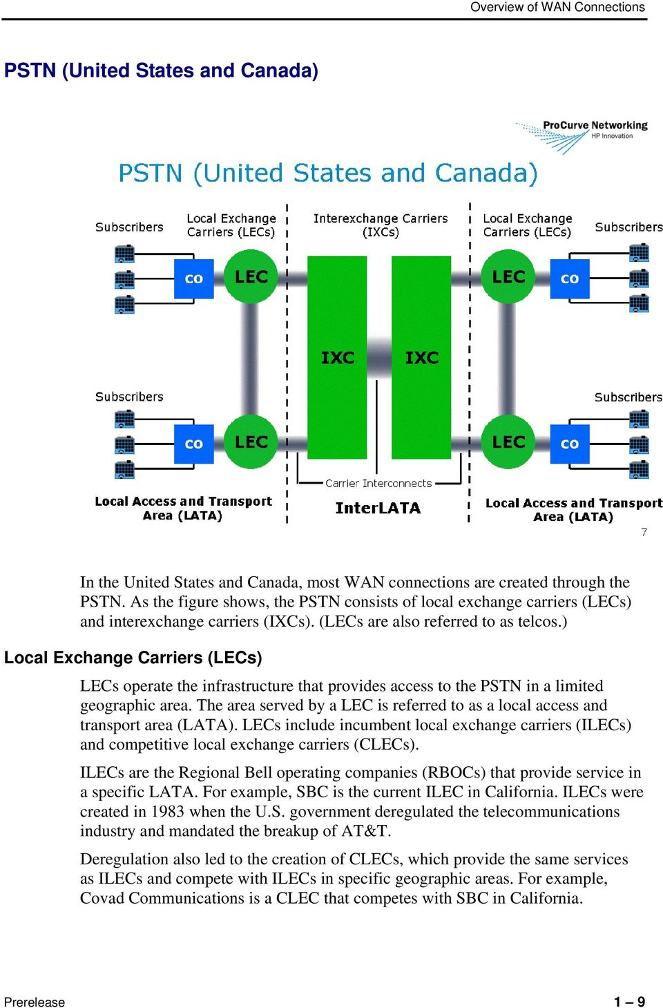 ) Local Exchange Carriers (LECs) LECs operate the infrastructure that provides access to the PSTN in a limited geographic area.