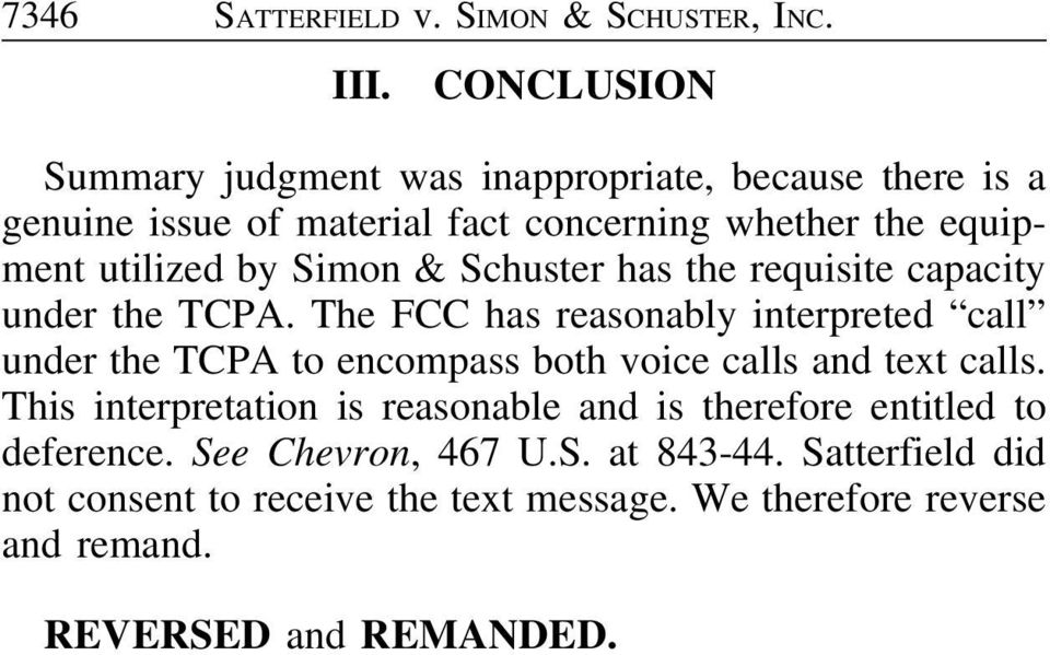Simon & Schuster has the requisite capacity under the TCPA.