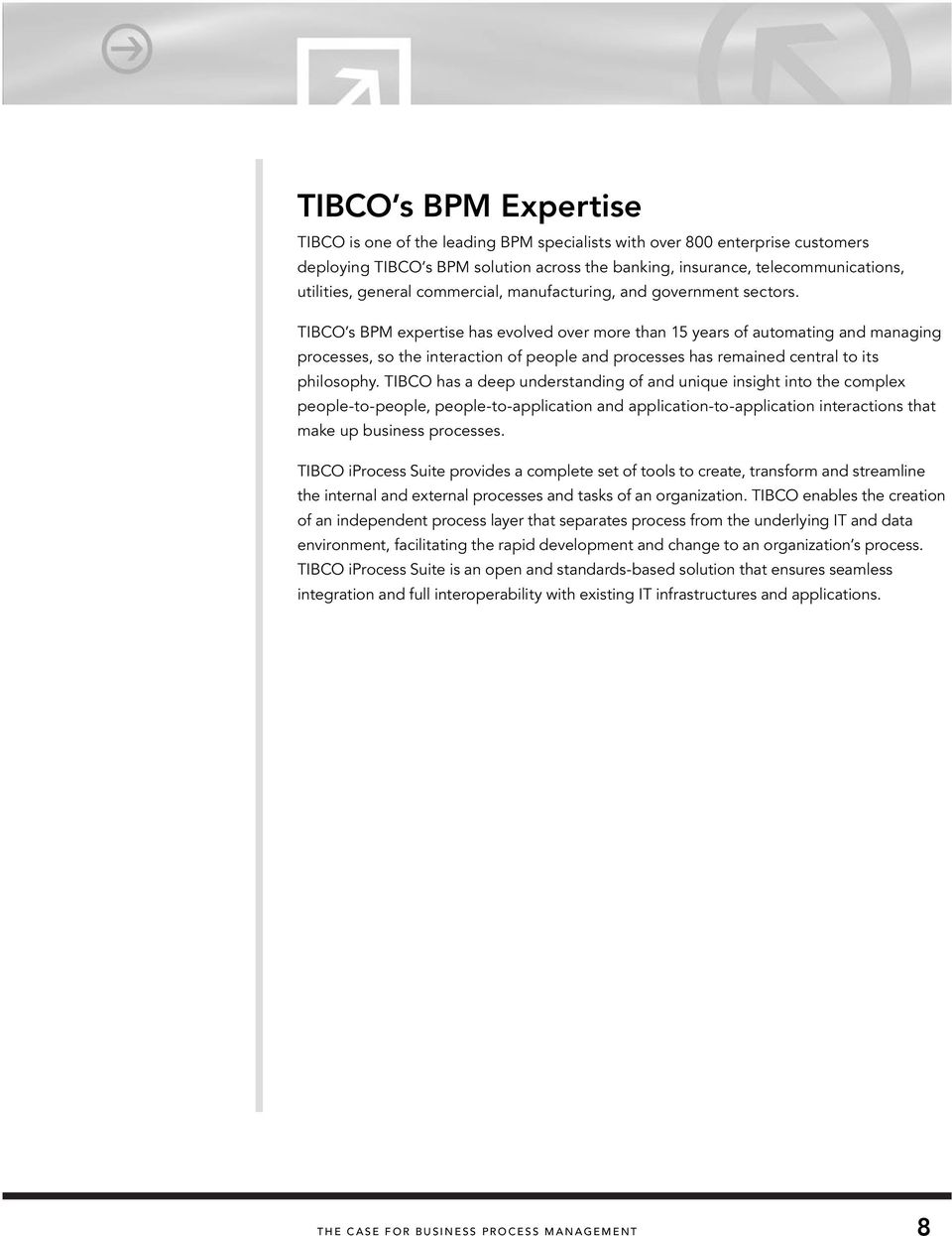 TIBCO s BPM expertise has evolved over more than 15 years of automating and managing processes, so the interaction of people and processes has remained central to its philosophy.