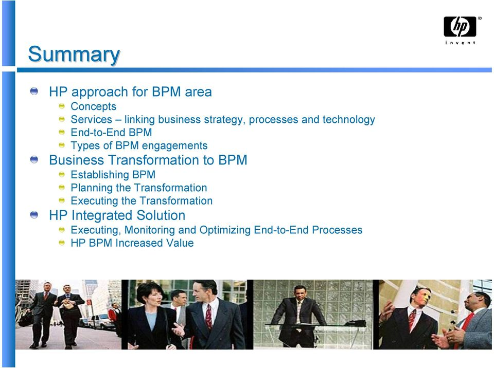 Establishing BPM Planning the Transformation Executing the Transformation HP Integrated
