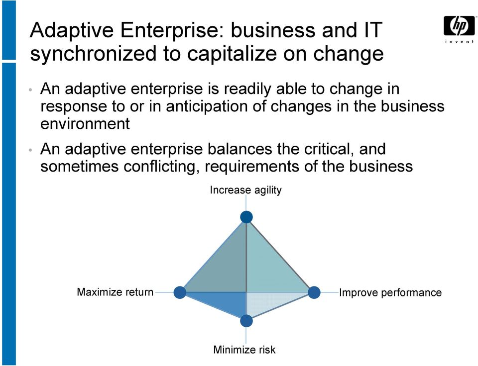 business environment An adaptive enterprise balances the critical, and sometimes