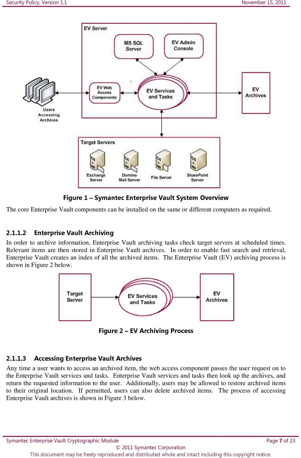 The Enterprise Vault (EV) archiving process is shown in Figure 2 below. Figure 2 EV Archiving Process 2.1.