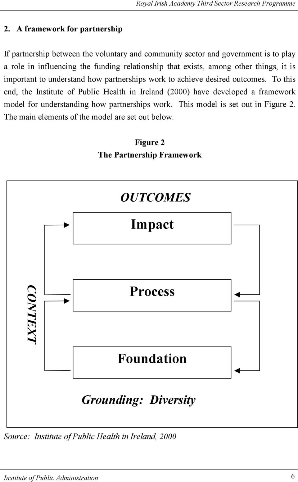 To this end, the Institute of Public Health in Ireland (2000) have developed a framework model for understanding how partnerships work. This model is set out in Figure 2.