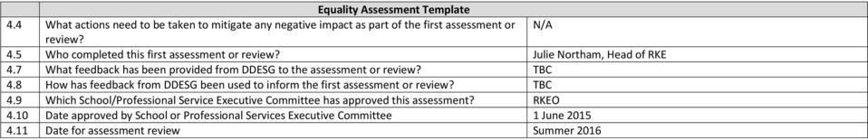 8 How has feedback from DDESG been used to inform the first assessment or review? TBC 4.