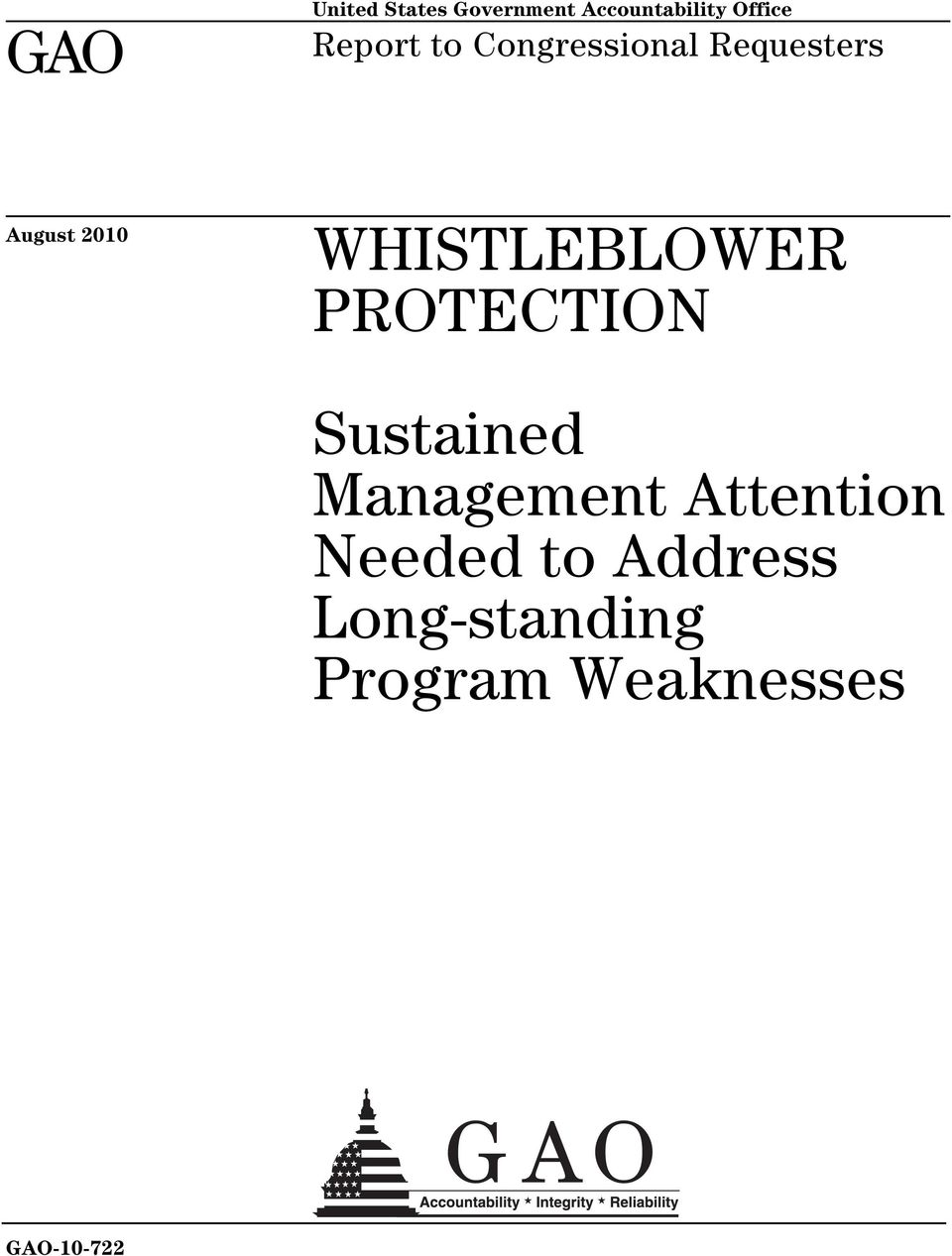 WHISTLEBLOWER PROTECTION Sustained Management