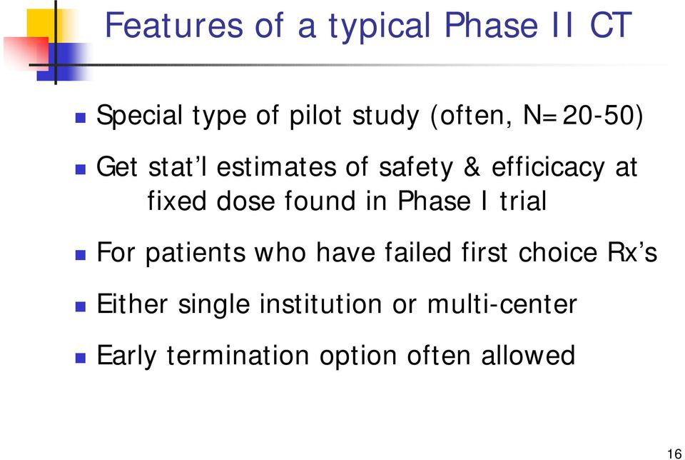 in Phase I trial For patients who have failed first choice Rx s Either