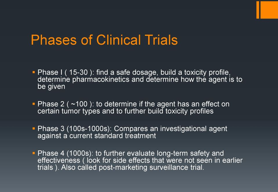 profiles Phase 3 (100s-1000s): Compares an investigational agent against a current standard treatment Phase 4 (1000s): to further evaluate
