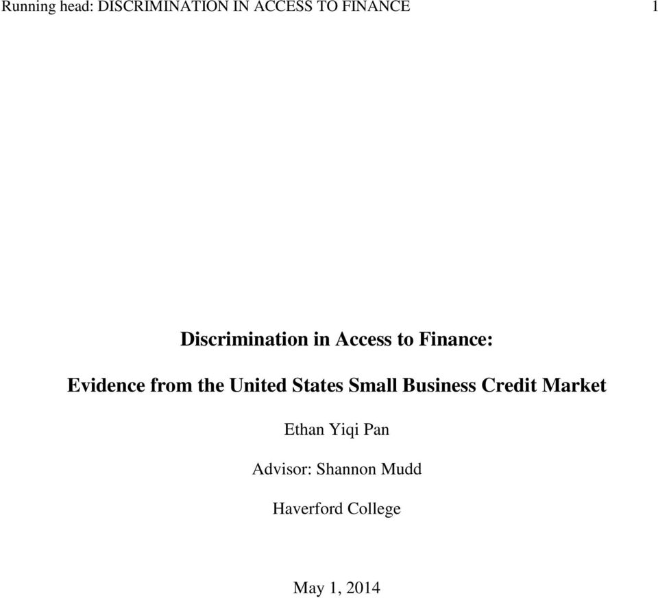 the United States Small Business Credit Market Ethan