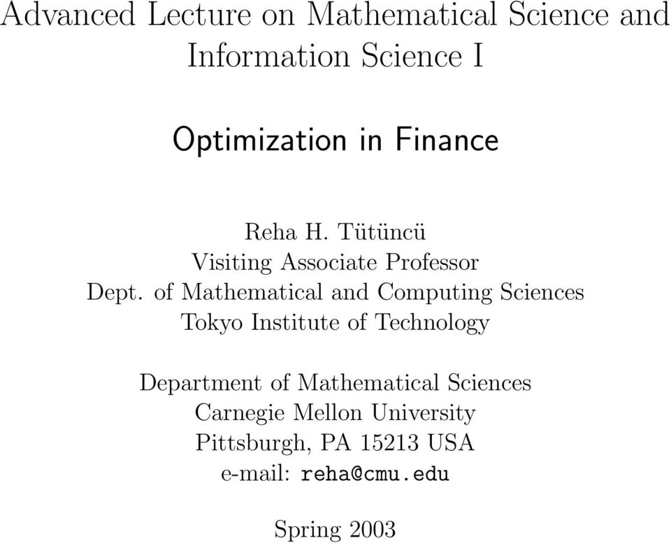 of Mathematical and Computing Sciences Tokyo Institute of Technology Department of