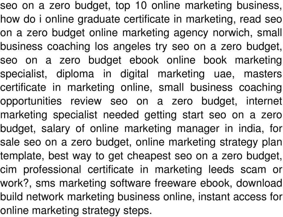 opportunities review seo on a zero budget, internet marketing specialist needed getting start seo on a zero budget, salary of online marketing manager in india, for sale seo on a zero budget, online