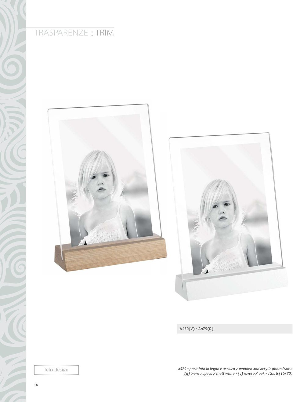 wooden and acrylic photo frame (q) bianco