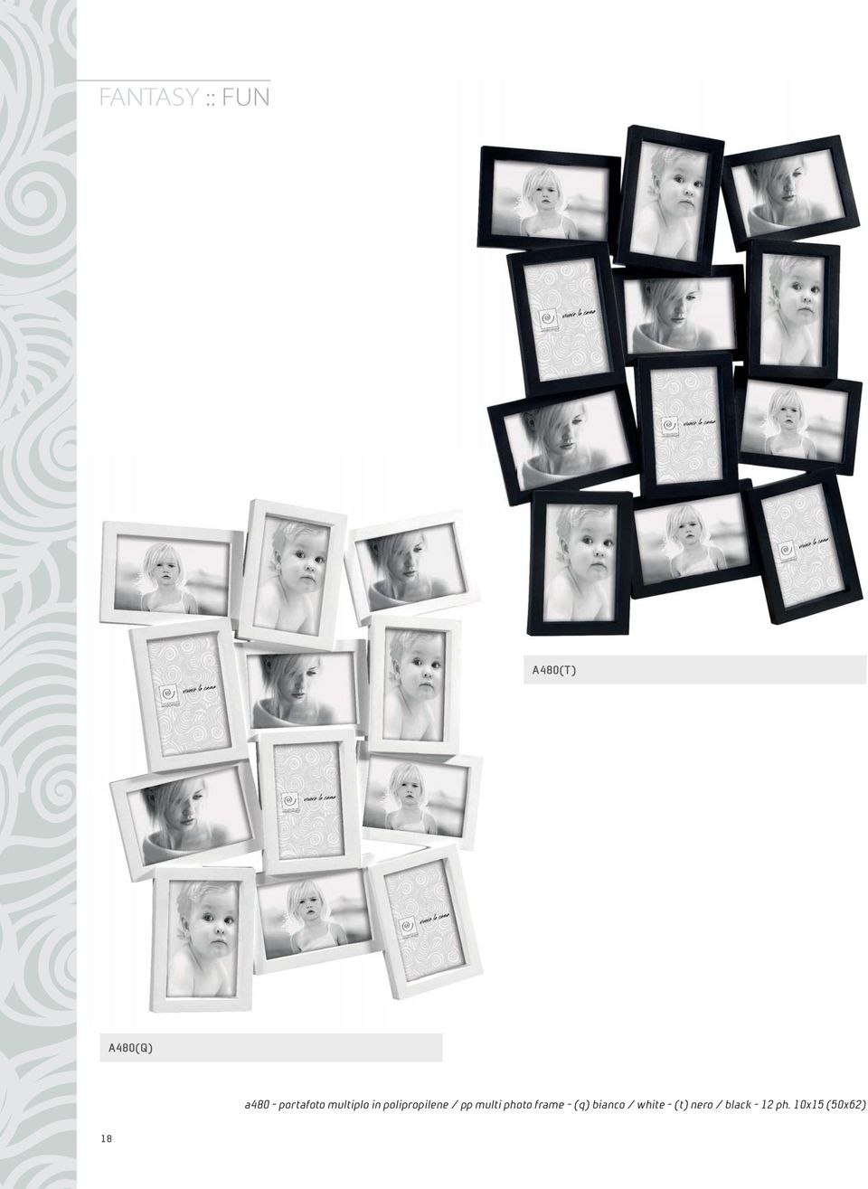 multi photo frame - (q) bianco / white -