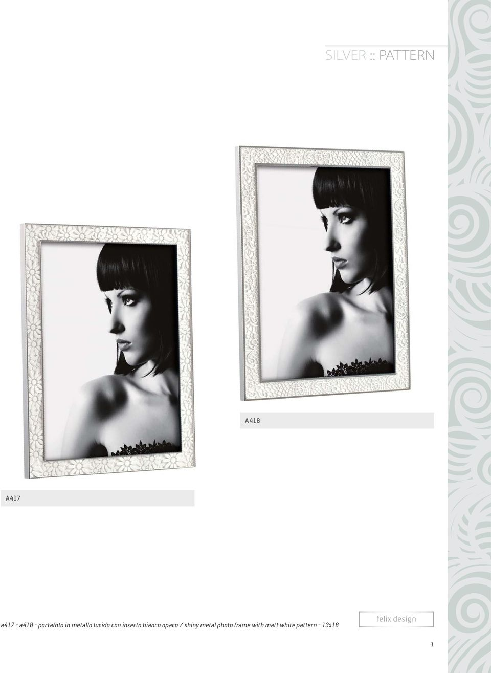 bianco opaco / shiny metal photo frame