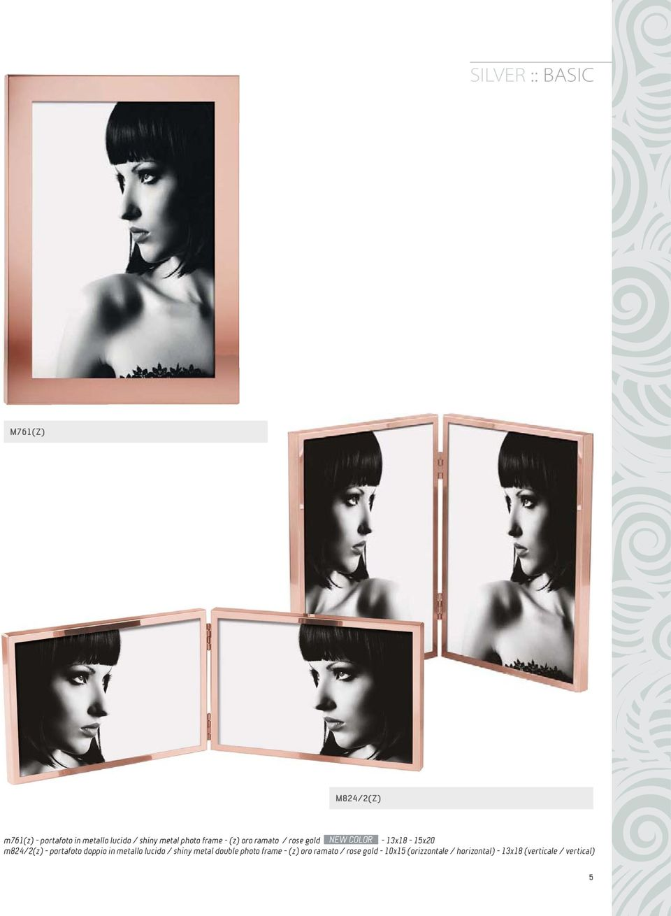 - portafoto doppio in metallo lucido / shiny metal double photo frame - (z) oro
