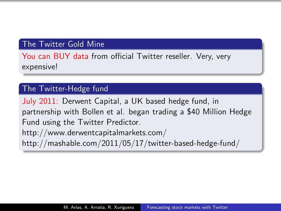 The Twitter-Hedge fund July 2011: Derwent Capital, a UK based hedge fund, in partnership