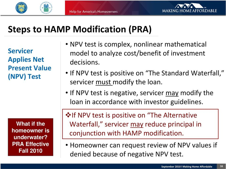 If NPV test is positive on The Standard Waterfall, servicer must modify the loan.