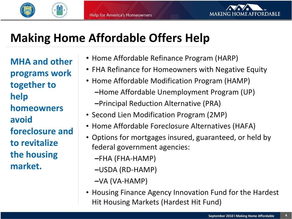 Program (UP) Principal Reduction Alternative (PRA) Second Lien Modification Program (2MP) Home Affordable Foreclosure Alternatives (HAFA) Options for mortgages