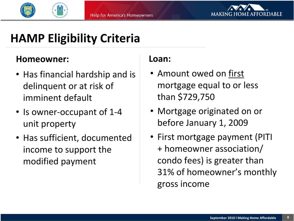 Amount owed on first mortgage equal to or less than $729,750 Mortgage originated on or before January 1, 2009