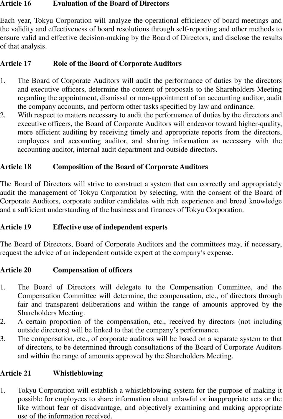 Article 17 Role of the Board of Corporate Auditors 1.