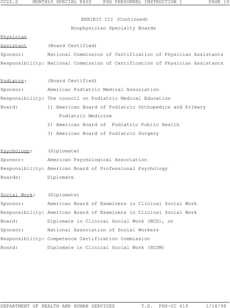 Responsibility: The council on Podiatric Medical Education Board: 1) American Board of Podiatric Orthopedics and Primary Podiatric Medicine 2) American Board of Podiatric Public Health 3) American