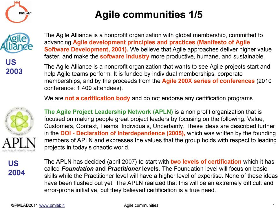 The Agile Alliance is a nonprofit organization that wants to see Agile projects start and help Agile teams perform.