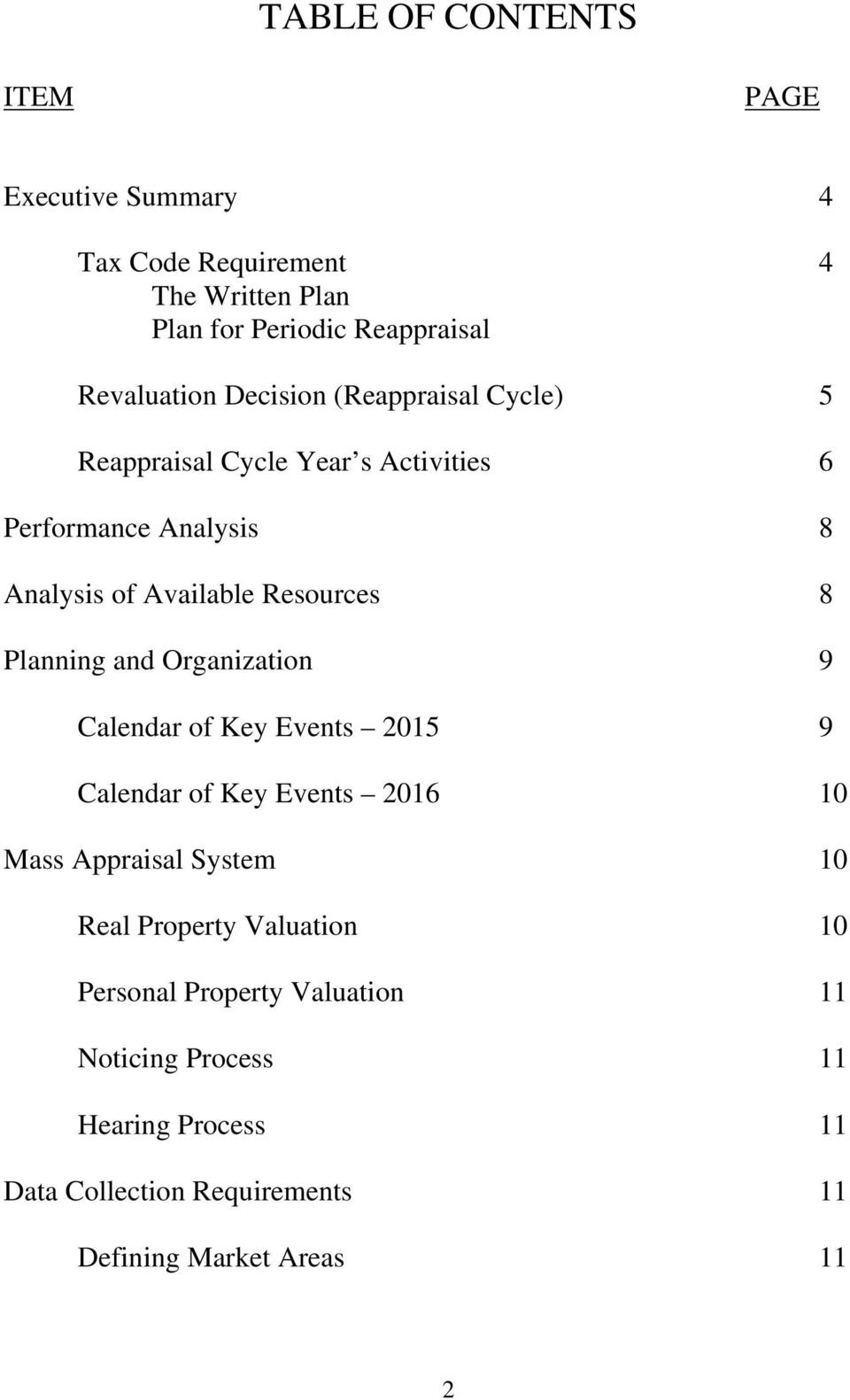 Planning and Organization 9 Calendar of Key Events 2015 9 Calendar of Key Events 2016 10 Mass Appraisal System 10 Real Property