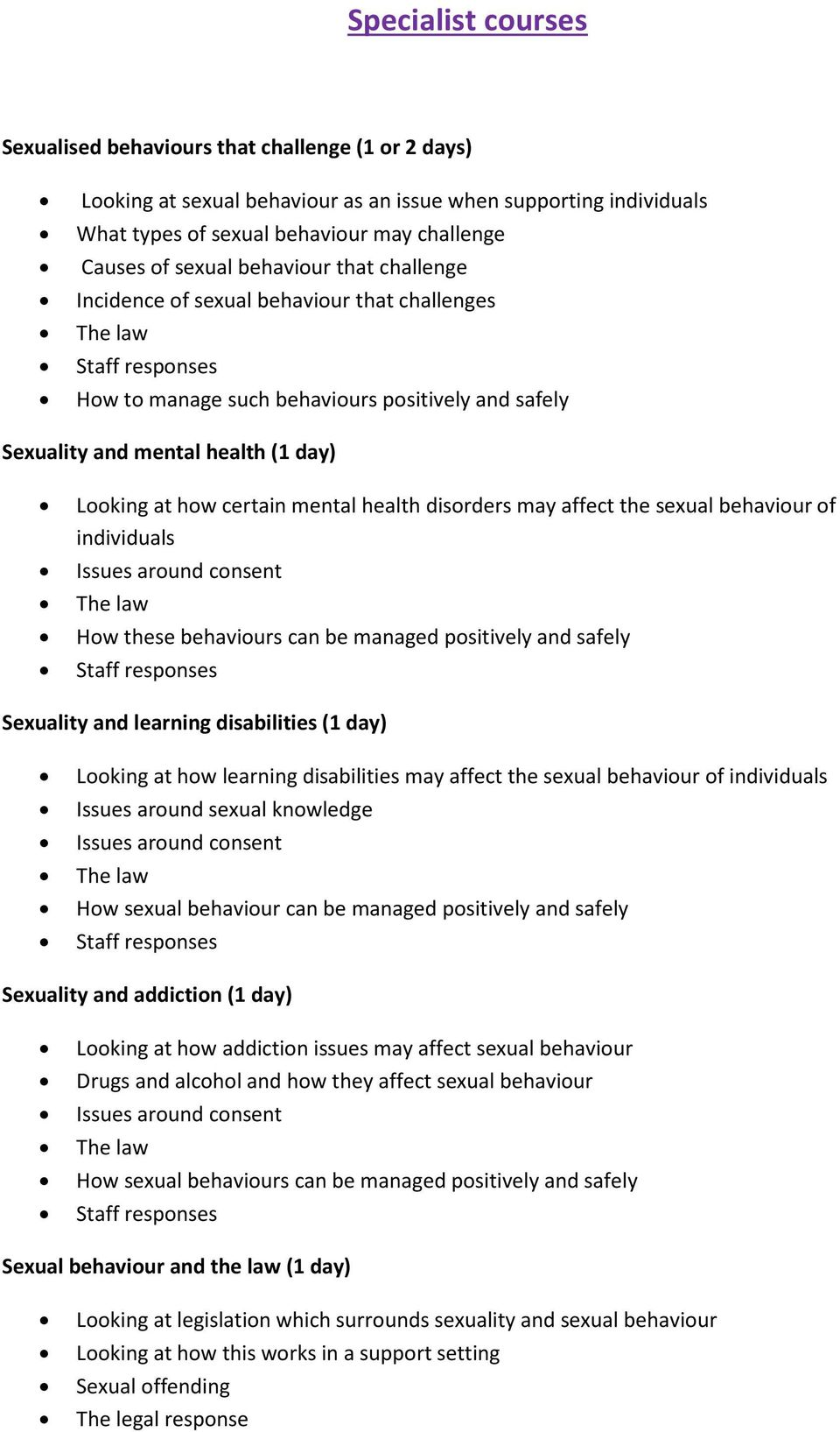 mental health disorders may affect the sexual behaviour of individuals Issues around consent How these behaviours can be managed positively and safely Staff responses Sexuality and learning