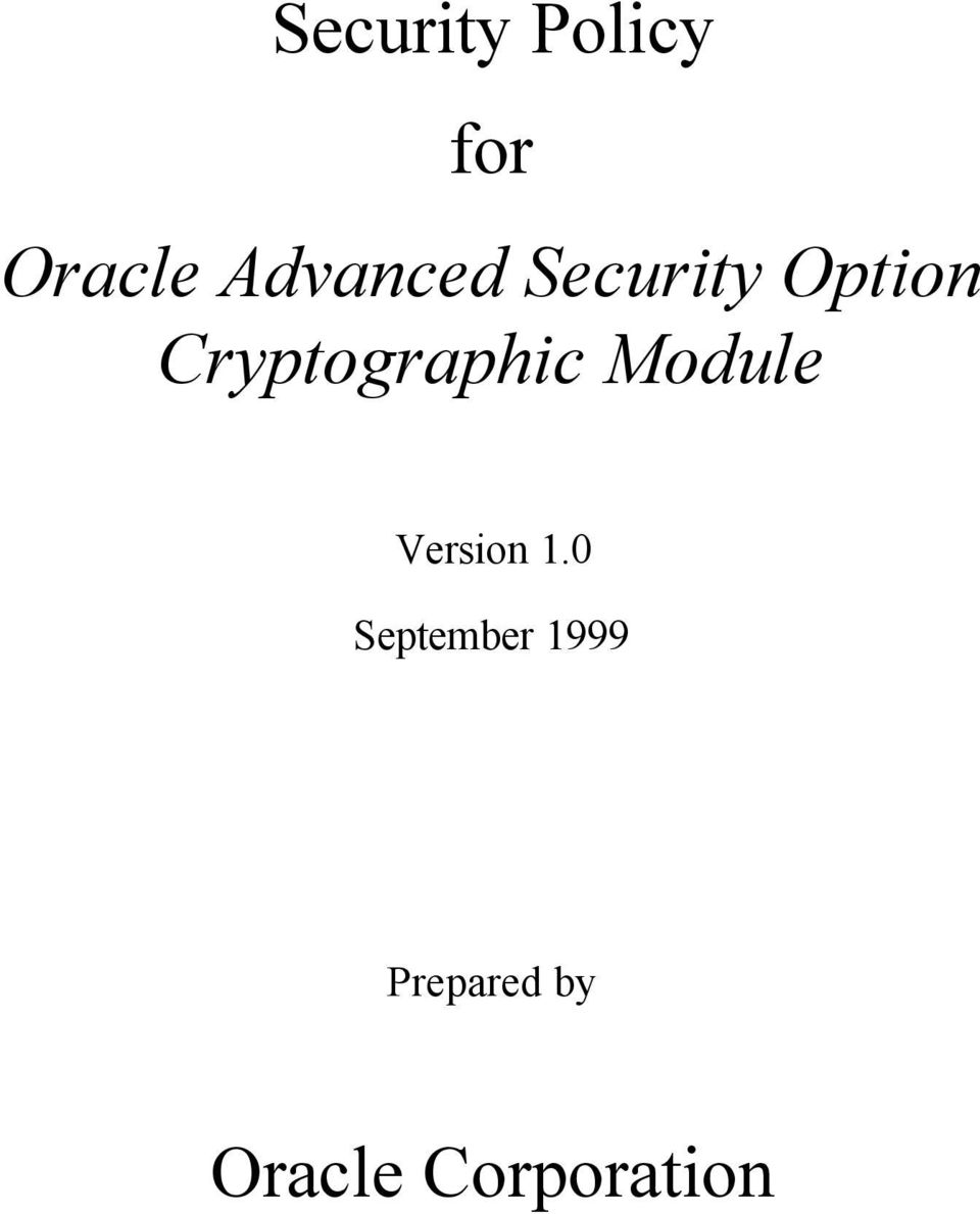 Cryptographic Module Version 1.