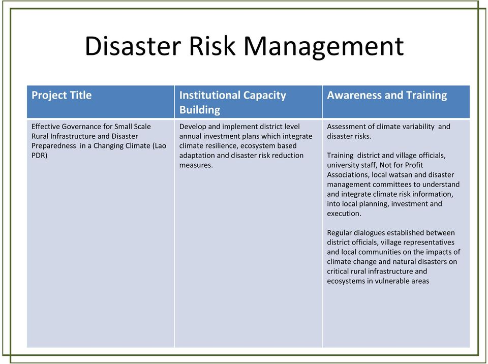 Awareness and Training Assessment of climate variability and disaster risks.