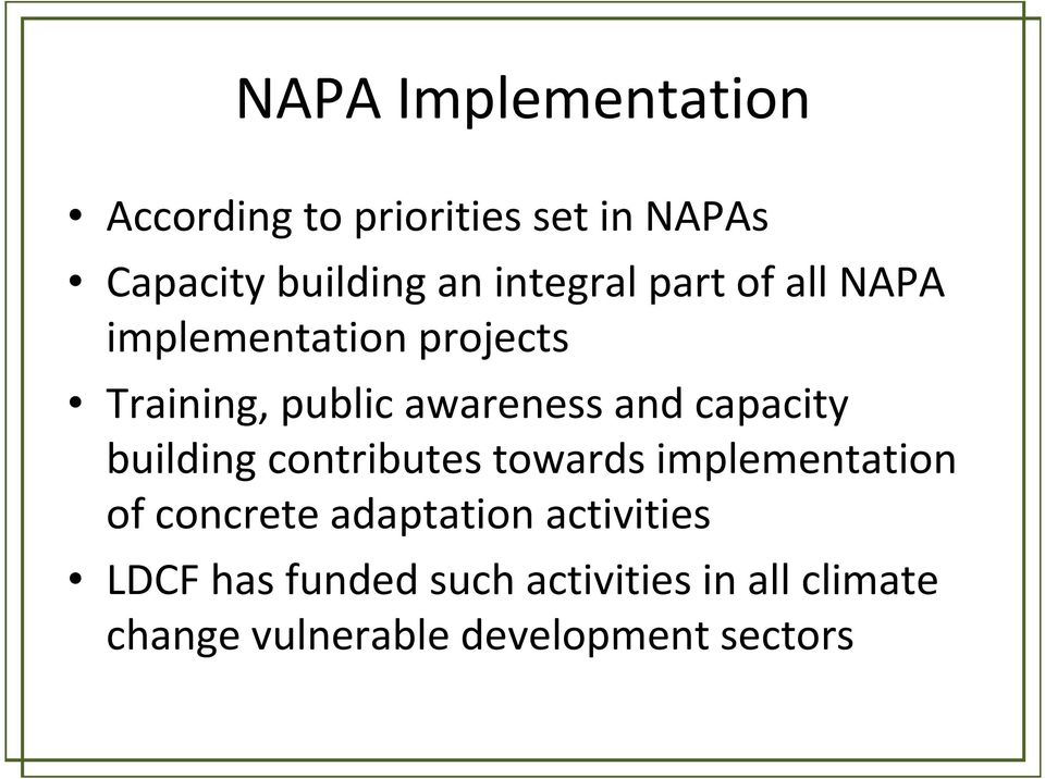 capacity building contributes towards implementation of concrete adaptation