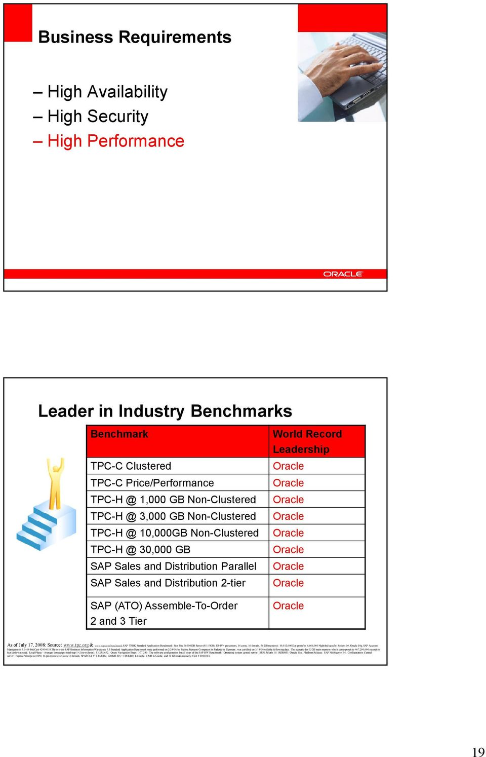Oracle Oracle Oracle Oracle Oracle Oracle Oracle SAP (ATO) Assemble-To-Order 2 and 3 Tier Oracle As of July 17, 2008: Source: www.tpc.org & www.sap.com/benchmark.
