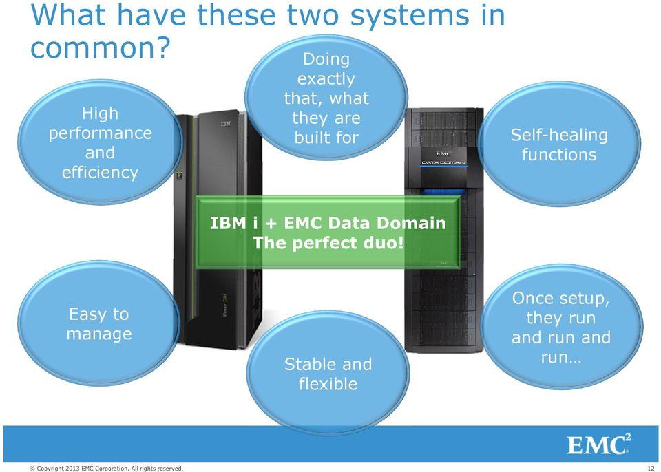 are built for Self)healing functions IBM i + EMC Data Domain
