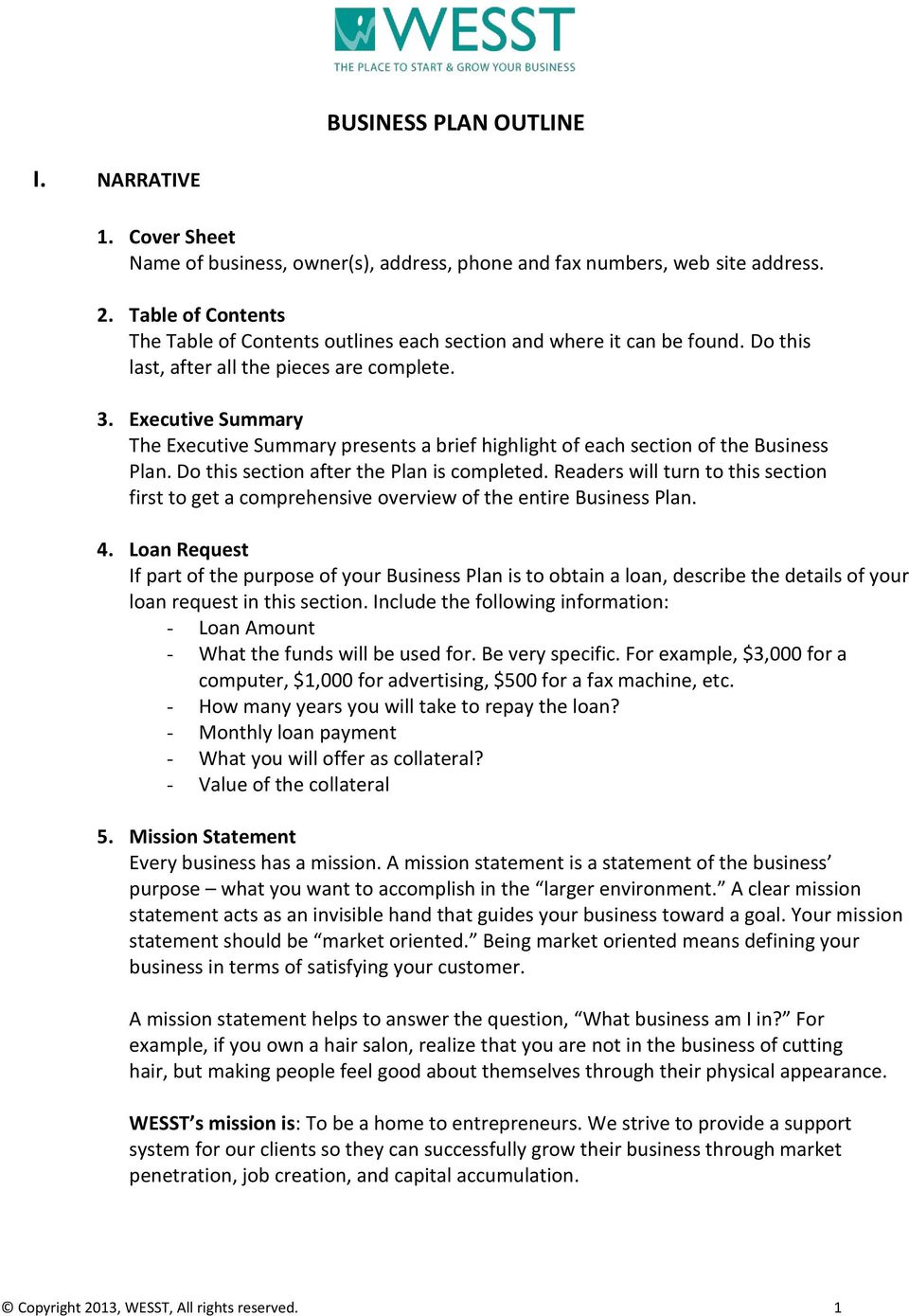 Executive Summary The Executive Summary presents a brief highlight of each section of the Business Plan. Do this section after the Plan is completed.