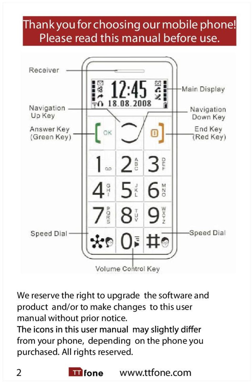 Thank You For Choosing Our Mobile Phone Please Read This Manual