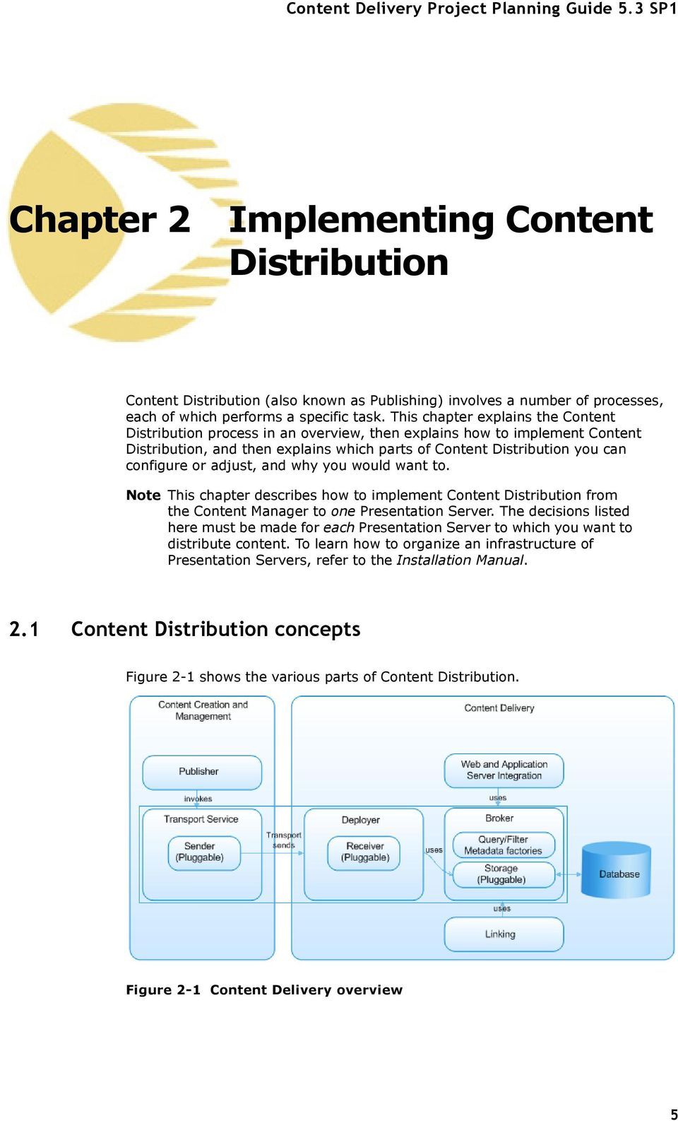 adjust, and why you would want to. Note This chapter describes how to implement Content Distribution from the Content Manager to one Presentation Server.