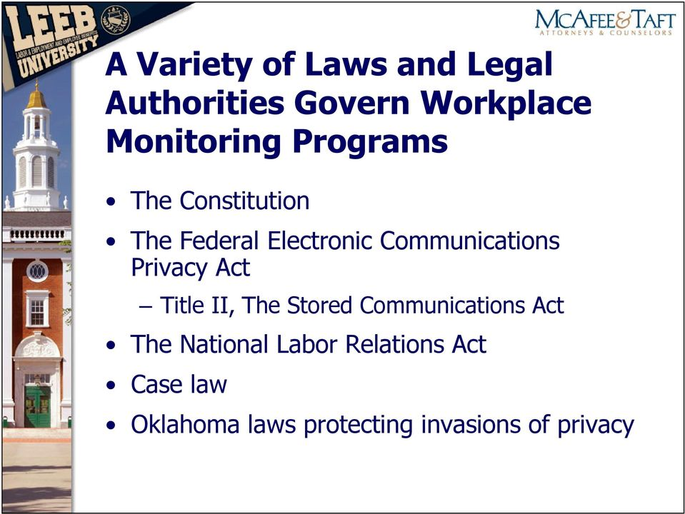 Privacy Act Title II, The Stored Communications Act The National