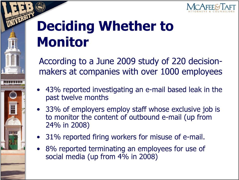 staff whose exclusive job is to monitor the content of outbound e-mail (up from 24% in 2008) 31% reported