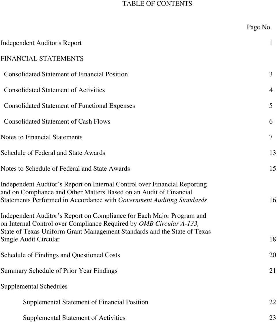 Statement of Cash Flows 6 Notes to Financial Statements 7 Schedule of Federal and State Awards 13 Notes to Schedule of Federal and State Awards 15 Independent Auditor s Report on Internal Control