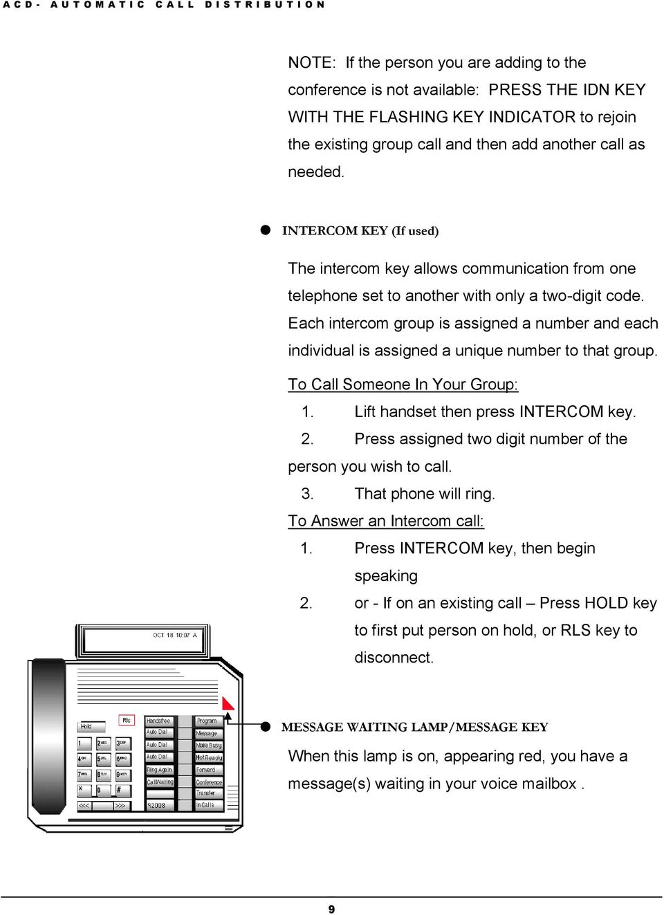 Each intercom group is assigned a number and each individual is assigned a unique number to that group. To Call Someone In Your Group: 1. Lift handset then press INTERCOM key. 2.
