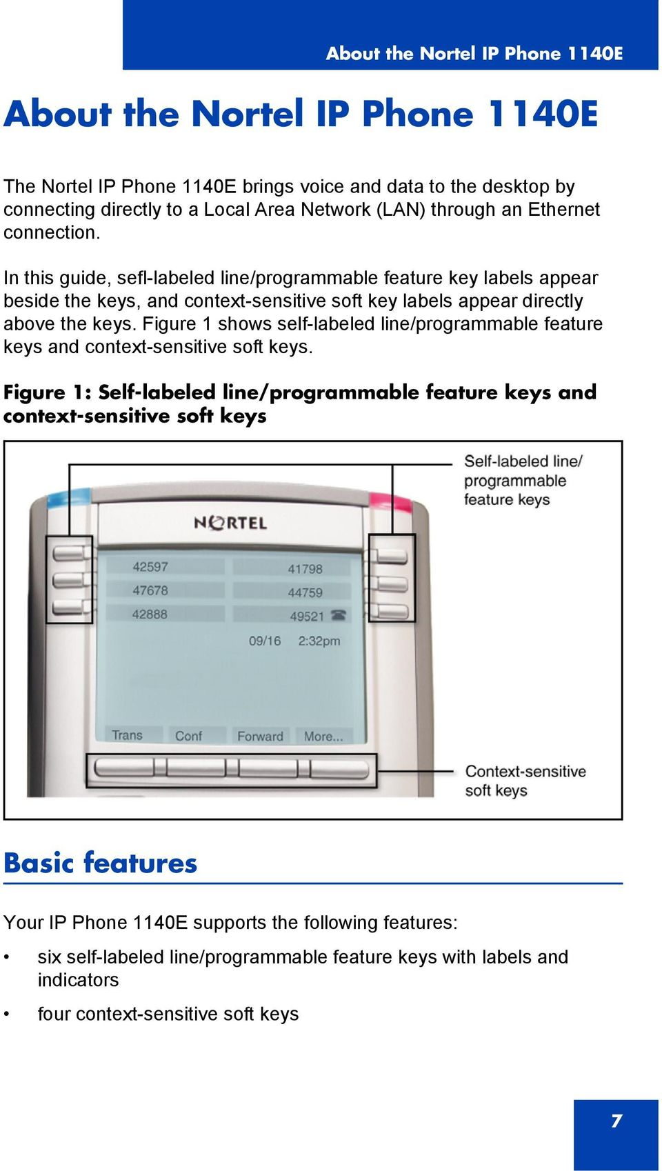 In this guide, sefl-labeled line/programmable feature key labels appear beside the keys, and context-sensitive soft key labels appear directly above the keys.